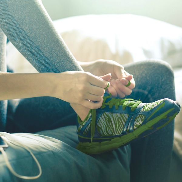 Young woman getting ready for morning run